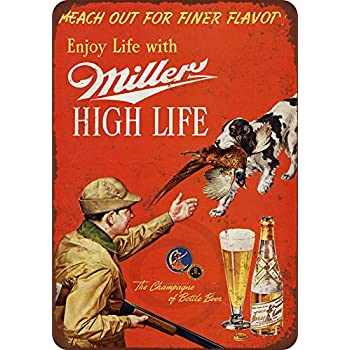 "1958 Miller Beer and Pheasant Hunting Vintage Retro Metal Sign 8/"" x 12/"""