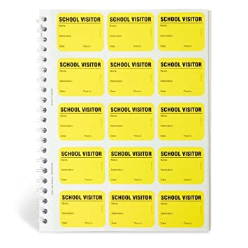 Spiral-Bound Temporary School Visitor Login Book with 225 Badges