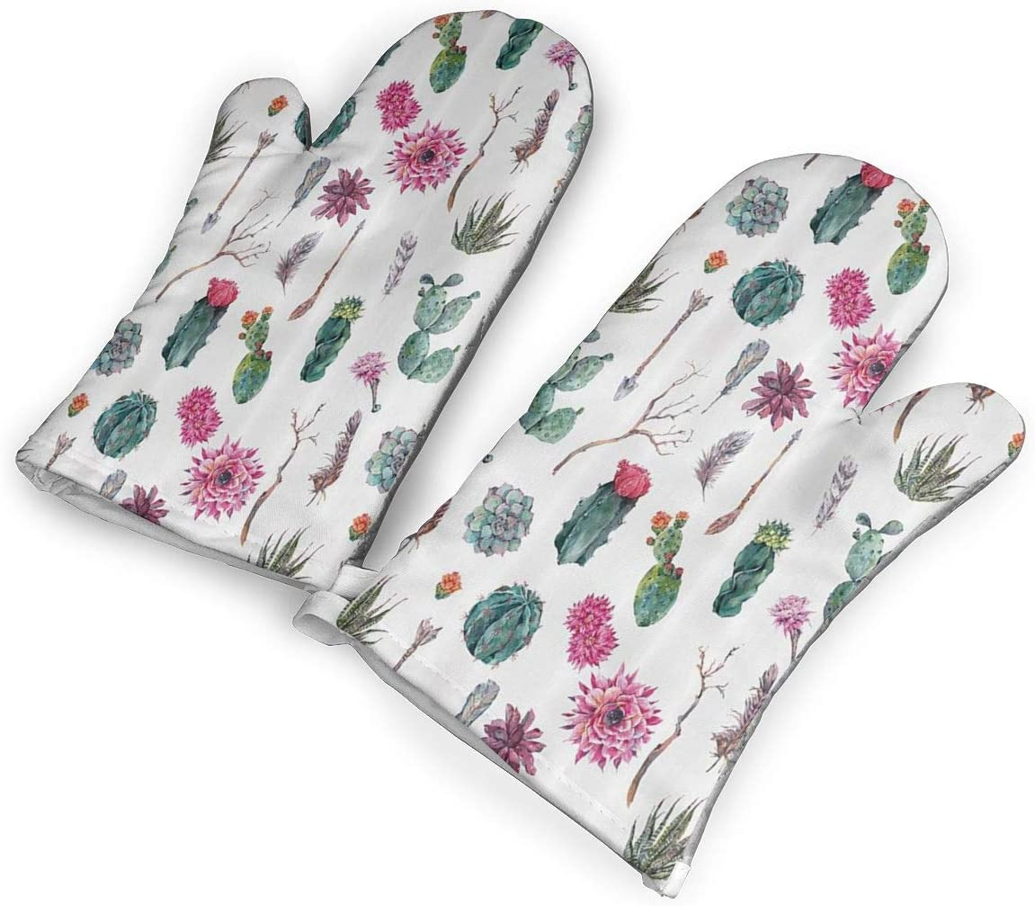 QOQD Vintage Botanical Pattern Arrows Feathers Succulent Twigs Hawaii Spring Tropic Oven Mitts with Polyester Fabric Printed Pattern,1 Pair of Heat Resistant Oven Gloves for Cooking