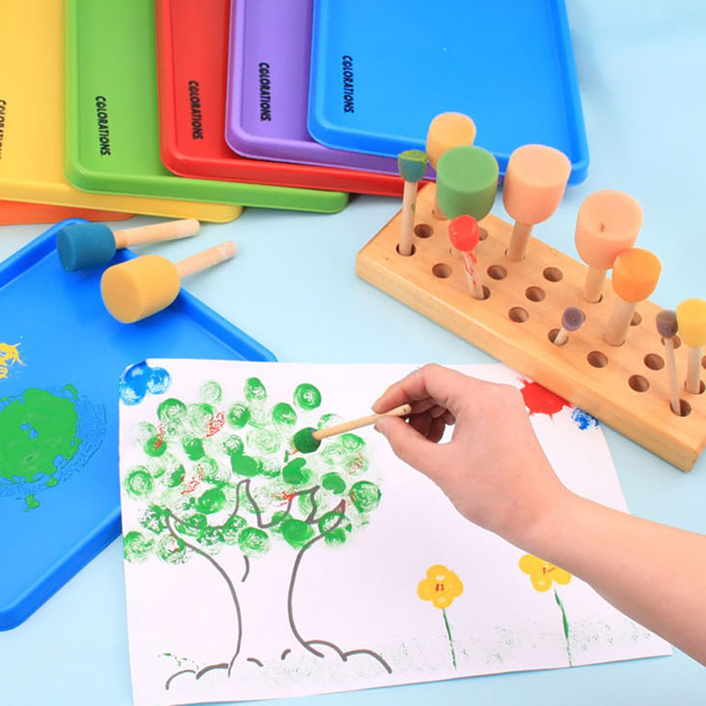 Meolin 4Pcs//set Children Painting Brush Yellow Mushroom Head Seal Sponge Wooden Handle Paint Tool