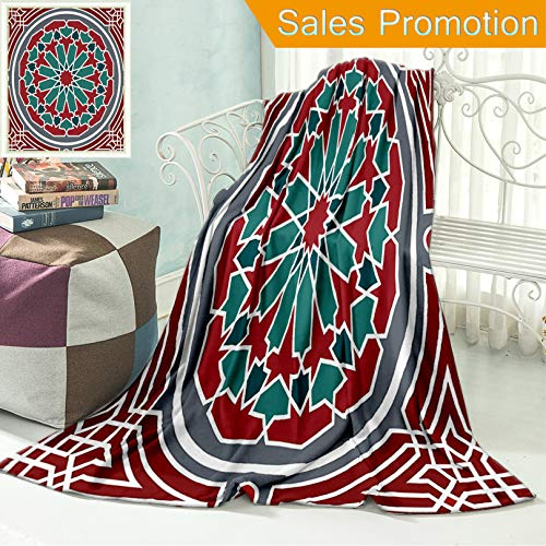 (Unique Custom Flannel Blankets Arabian Decor Collection Elegant Islamic Ethnic Old Style Ornate Persian Pattern with Victor Super Soft Blanketry for Bed Couch, Throw Blanket 50