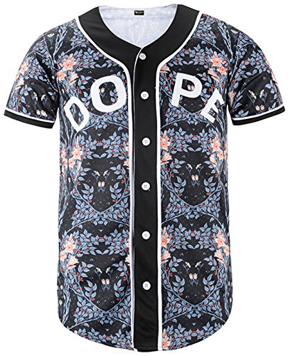 - PIZOFF Short Sleeve Arc Bottom Baseball Team Jersey 3D All Over Colorful Floral Print Basketball Shirt Y1724-54-L