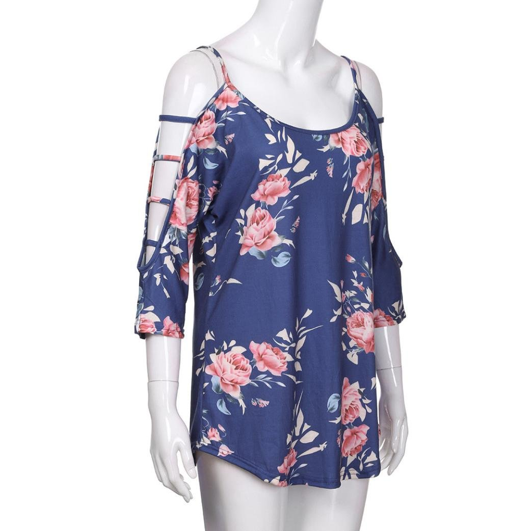 UONQD Woman blouses womens shirts m and s ladies floral long sleeve grey tops blue short evening chiffon shirt online light collar uk navy casual women's female(Medium,Blue) by UONQD (Image #5)