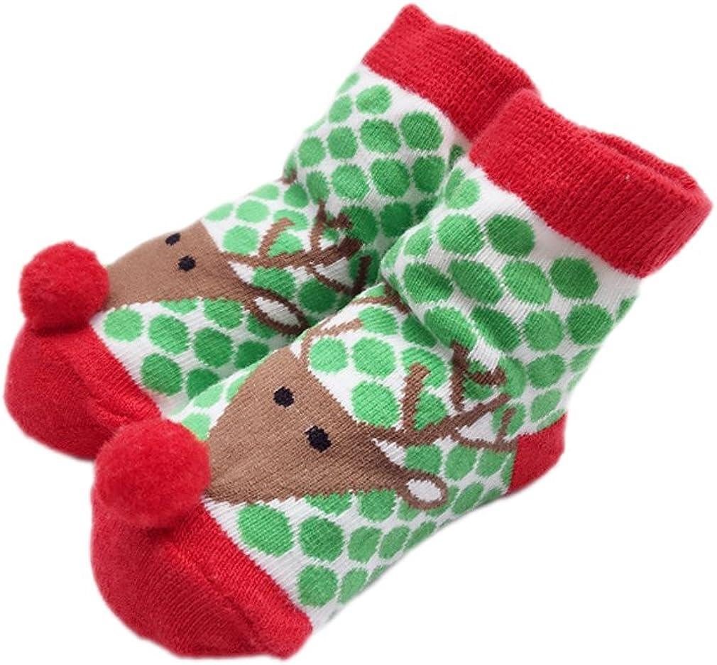 ACVIP Unisex Baby Christmas Holiday Cartoon Reindeer Crew Socks Gift