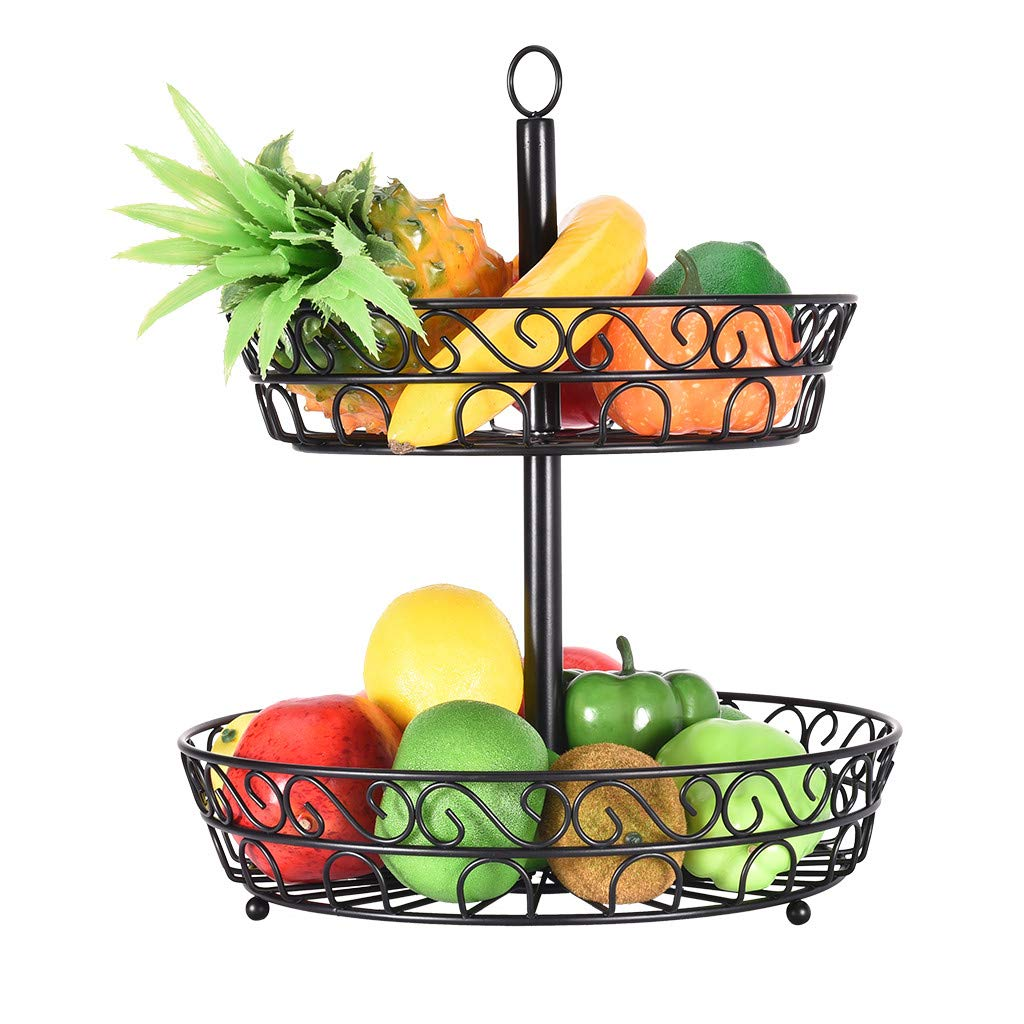 Homefami 2-Tier Countertop Fruit Basket Holder & Decorative Bowl Stand—Perfect for Fruit, Vegetables, Snacks, Household Items, and so on (Black) - A Must-have for Each Household