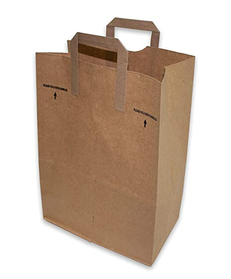 d124301a6e Amazon.com  50 Paper Retail Grocery Bags Kraft with Handles 12x7x17 by  Duro  Reusable Grocery Bags  Kitchen   Dining