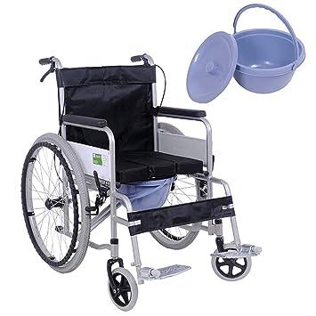 DPPAN Transporte Silla de ruedas Plegable ligero para adultos Asiento ancho, tubería de acero Drive