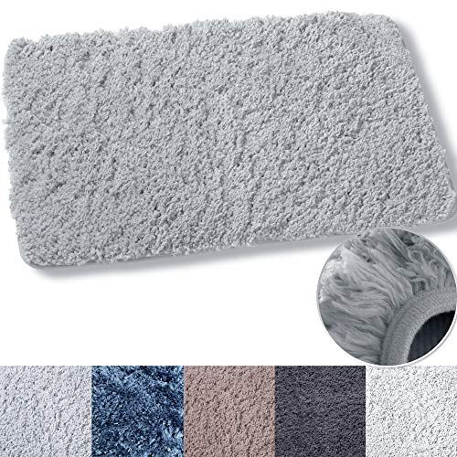 Luxe Rug Light Grey Blue Plush Bathroom Rugs Bath Shower Mat 20 x 32 Inches w Non Slip Microfiber Super Absorbent Rug Alfombras para Baños (1, Light Gray)