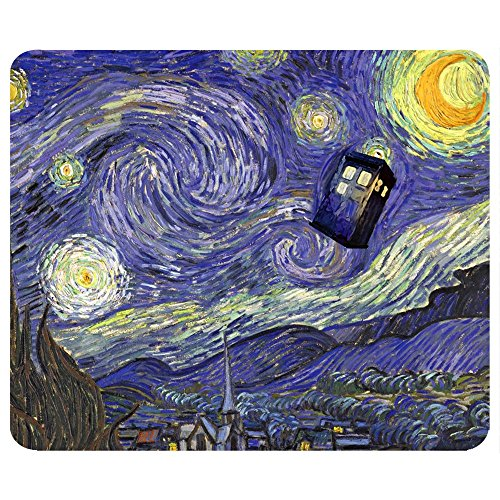 (Tardis, Vincent van Gogh Mouse Pad. Doctor Who Mouse Pad. Made in Texas, USA.)