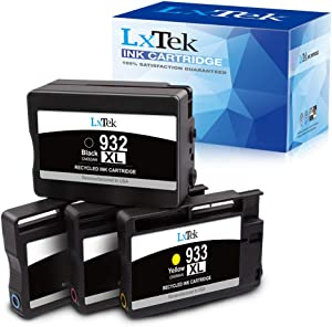 LxTek Remanufactured Ink Cartridge Replacement for HP 932XL 933XL 932 XL 933 XL CN053AN CN054AN CN055AN CN056AN to use with Officejet 7610 7612 6700 6600 6100 7110 7510 (Black, Cyan, Magenta, Yellow)