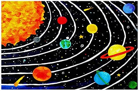 Dia Noche Woven Area Rugs, Kitchen Mats, Bath Mats by Nicola Joyner Solar System IV Large 4×6 Ft