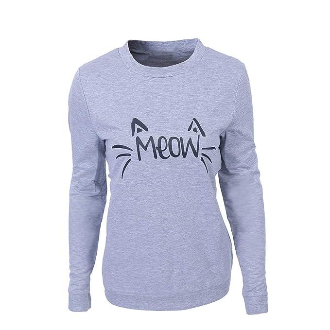 Meow Gráfica de impresión de Gato Sudaderas Leng Manga Casual Pullover Hoodies (Color : Grey
