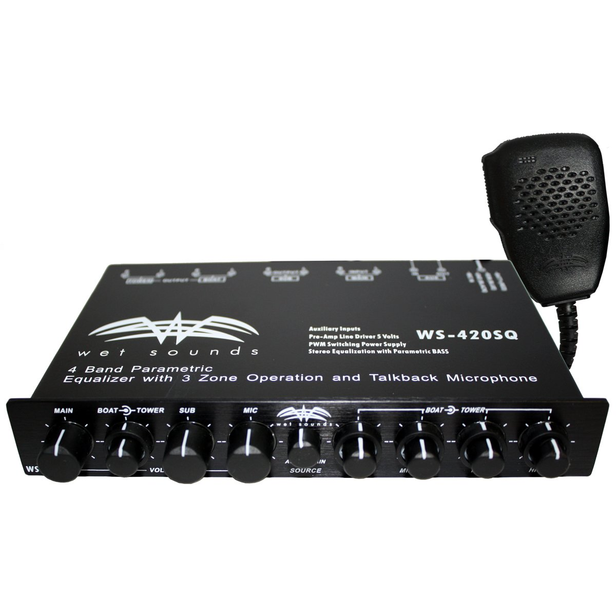 Wet Sounds WS-420 SQ - 4 Band Parametric Equalizer with 3 Zone Operation with Microphone by Wet Sounds
