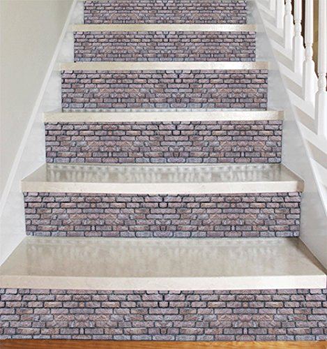 Stone Accent Strip - Stone Brick Style Vinyl Decal Strips for Stair Risers/ Wall Borders - Peel and Stick - Self Adhesive Sticker - Living Room/ Kitchen/ Bathroom Home Decor DIY - Pack of 5 Strips