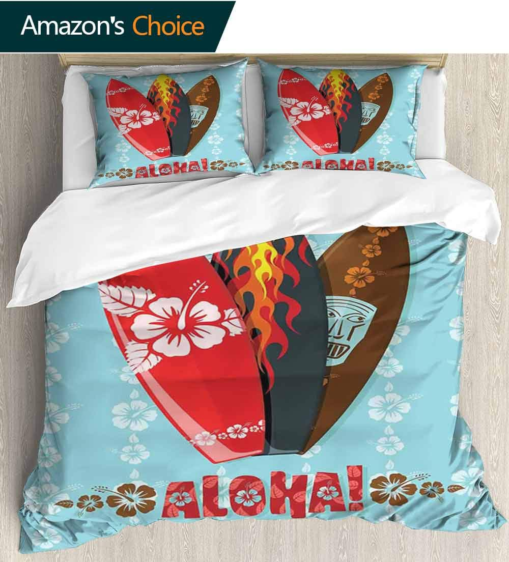 carmaxs-home Surf Print Comforter Quilt Set,Illustration of Modern Aloha Surfboards with Hibiscus Tribal Mask Flame Extreme Sports Bedding Sets(68'' W x 85'' L) Multicolor