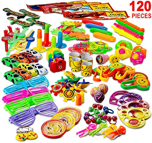 Reca 120 Kids Prizes Party Favors for Kids Party, Birthday Party Toy Assortment , Teachers and Parents Rewards, Carnival Prizes, Pinata Fillers , Stocking (Easter Basket Glass)