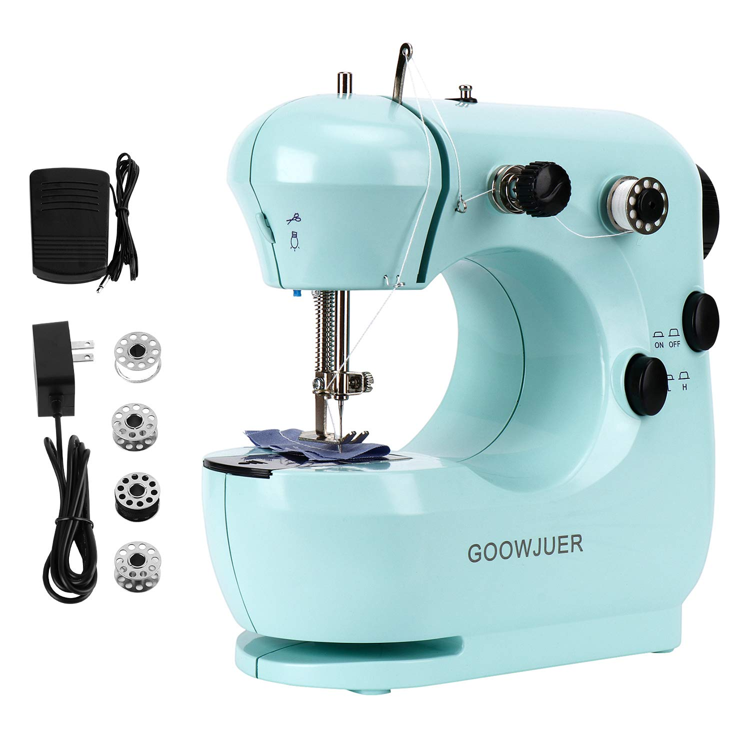 GOOWJUER Portable Mini Sewing MachineLightweight Electric Sewing Machines with Extension Table Double