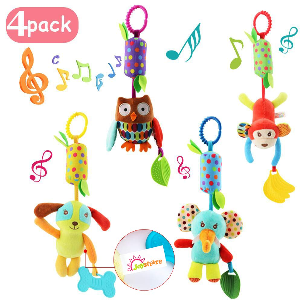 Joyshare 4 PCS Baby Soft Hanging Rattle Crinkle Squeaky Toy - Baby Toys for 0 3 6 9 to 1 Animal Ring Plush Stroller Infant Car Bed Crib Travel Activity Hanging Wind Chime with Teether for Boys Girls by Joyshare