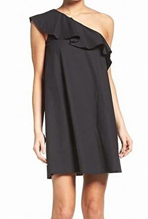 Black One Shoulder Shift Dress