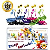 Vias Emoji Earbud Bundle - 5 pairs of Assorted Smile Face Expressions Headphones Earbuds 3.5mm for iPod/SmartPhone/Tablet. Great for Kids, Boys, Girls, Gifts