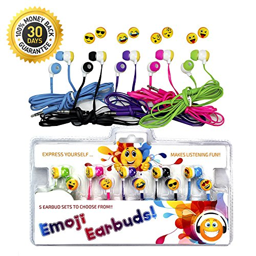 Vias Emoji Earbud 5 Pack of Assorted Smile Face Expressions Headphones Earbuds 3.5mm for iPod / SmartPhone / Tablet. Great for Kids, Boys, Girls, Gifts