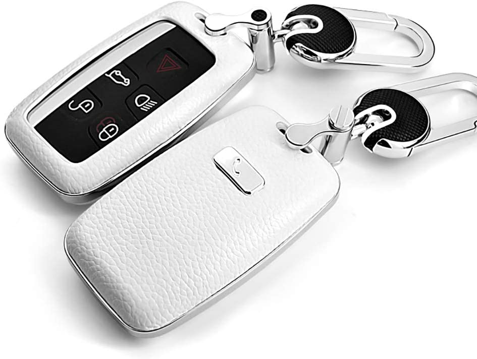 ontto for Land Rover Car Key Shell Genuine Leather ABS Plastic Smart Car Key Fob Holder Protector Cover with Zinc Alloy Keychain Key Ring Fit for Range Rover Eoque Freelander 2 Discovery Jaguar White