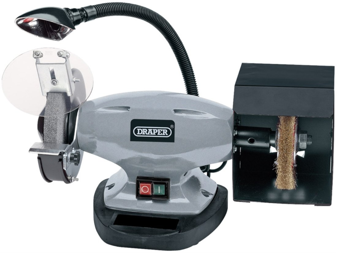 Draper 14271 150 mm 230-Volt 370-Watt Bench Grinder with Wire Wheel and LED Work Light