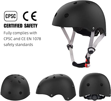 Kids Helmet Adjustable Toddler to Youth Bike Helmet for Skateboarding Roller Blading Scooter Riding Bicycling Skating and More Age 2-16 Years Old Black, M