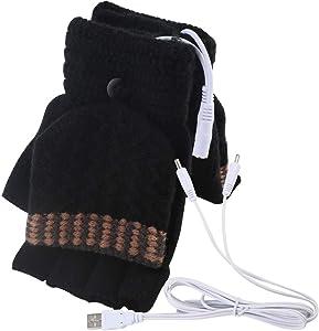 Men's Women's USB Heated Gloves Mitten, USB Hand Warmers Winter Warm Full Finger and Half Fingerless Warm Hand Laptop USB Heating Gloves