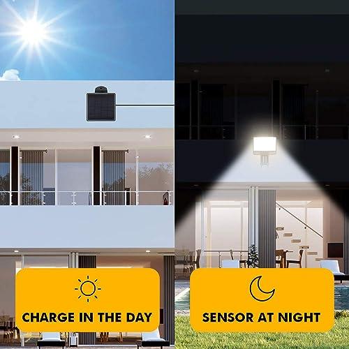 LUTEC Sunshine 500 Lumen 5000K Solar Motion Sensor Light Outdoor Acrylic Panel Solar Flood Lights Outdoor 500LM 7.5 Watt Waterproof Outdoor Security Lighting