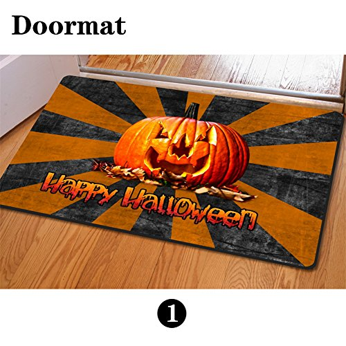 HUGS IDEA Personalized Halloween Doormats Living Room Kitchen Pumpkin Pattern Carpet -