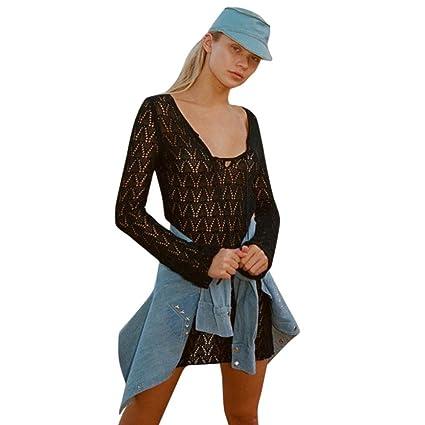 147dfa65ac123 YJYdada Women Bikini Cover Up Pure Manual Crochet Knit Hollow-Out Beach  Sunscreen Dress (