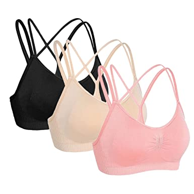 c60d459cdc7ba Onlyso Women s Strappy Crisscross Back Wireless Bras Padded Bralette ...