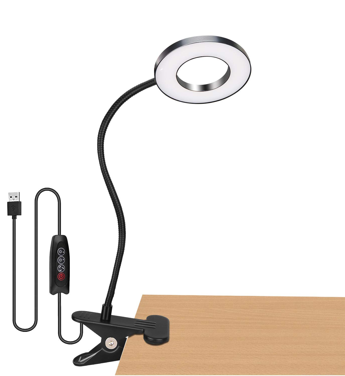 Book Reading Light in Bed - Clip on Lamp with 3 Brightness, Great for Bedside, Makeup Mirror, Headboard, Office, Desk, Dorm Room, Piano, Laptop and Daily Use (Black)