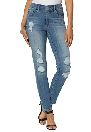 Women's Plus Size Deconstructed Skinny Jeans at Amazon Women's ...