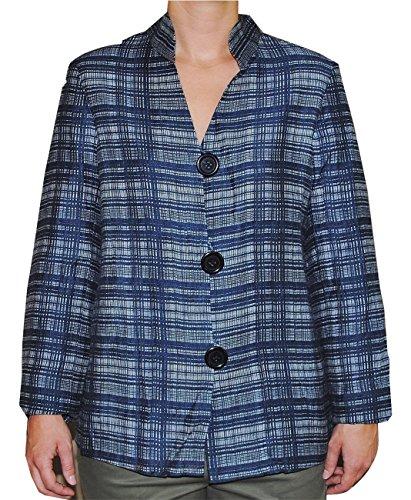 Jones New York Woman Three Button Suit Jacket - Jones New York Women's Navy Blue Blazer Jacket Medium