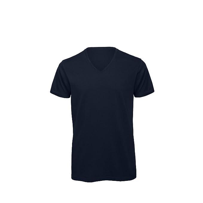 B&C - Camiseta cuello pico V Algodón orgánico Modelo Favourite hombre caballero (Pequeña (S