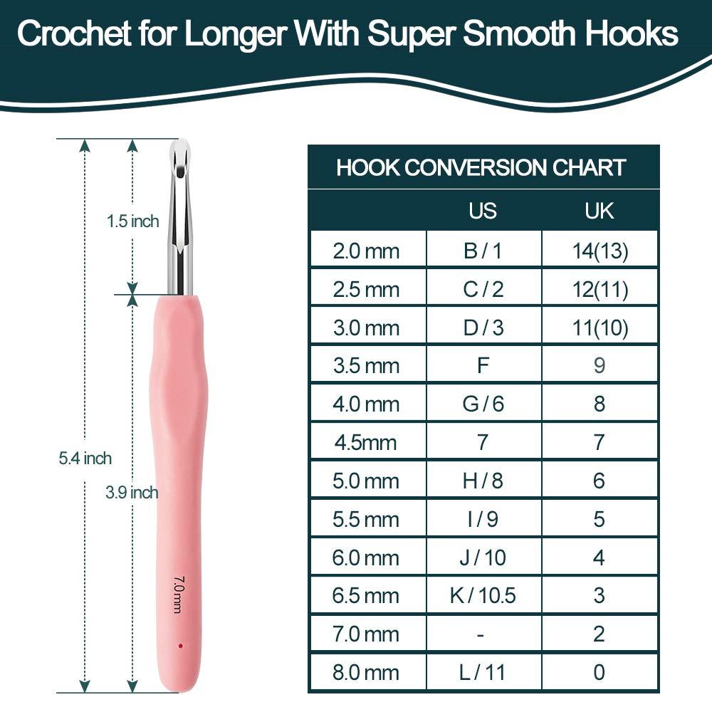 32Pack Crochet Hooks Set Ergonomic Soft Handles - Aluminum Blunt Needles - Knitting Needle - 2.0mm-8.0mm, Best Gifts for Mom by Flammae (Image #2)