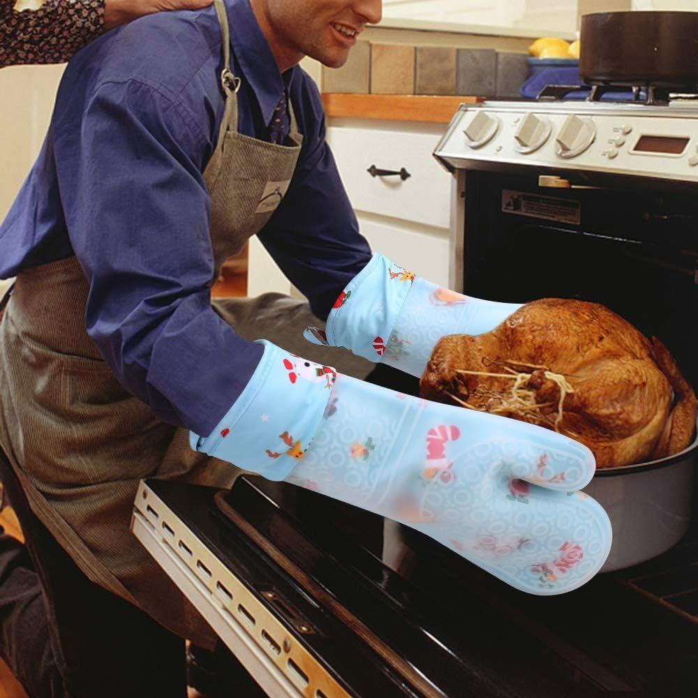 Anti-D/érapant R/ésistant Mitaines 260 /°C Gants avec Doublure en Coton pour Barbecue Grillade Cuisine Bleu, 1 Paire Aixingyun Gants de Cuisine Gants en Silicone