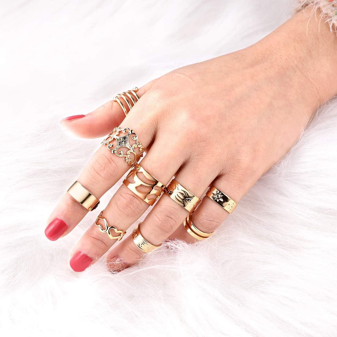 U7 9PCS Bague Phalange Femme Plaqu/é Or 18K Anneau Ouverte Empilable Knuckle Midi Ring Set Bijoux Vintage Fantaisie Style Boh/émien Cadeau Anniversaire F/êtes