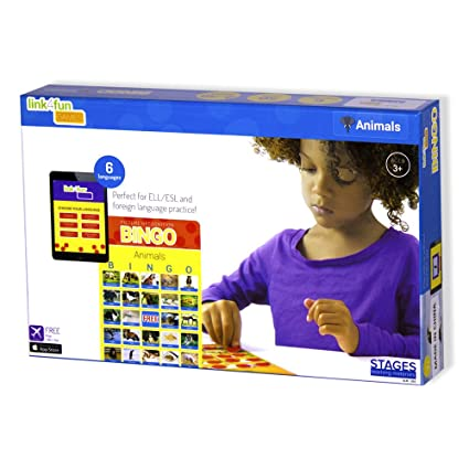 Stages Learning Materials Link4fun Real Photo Animal Bingo Game for Family, Preschool, Kindergarten, Elementary Education: 36 Picture Cards and App