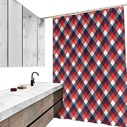 Jiahong Pan Abstract,Modern Shower Curtain Houndstooth Pattern European Style Bathroom Decoration,Multicolor,W36 xL72