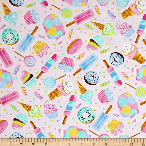 Cupcake Fabric (Timeless Treasures Sweet Treats Watercolor Sweets Pink Fabric By The Yard)