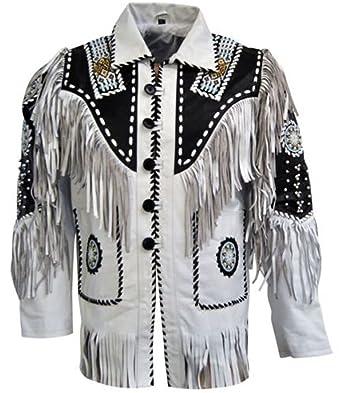 Classyak pour Homme Western Veste en Cuir Blanc à Franges et Perles   Amazon.fr  Vêtements et accessoires 7e0338df6a4b