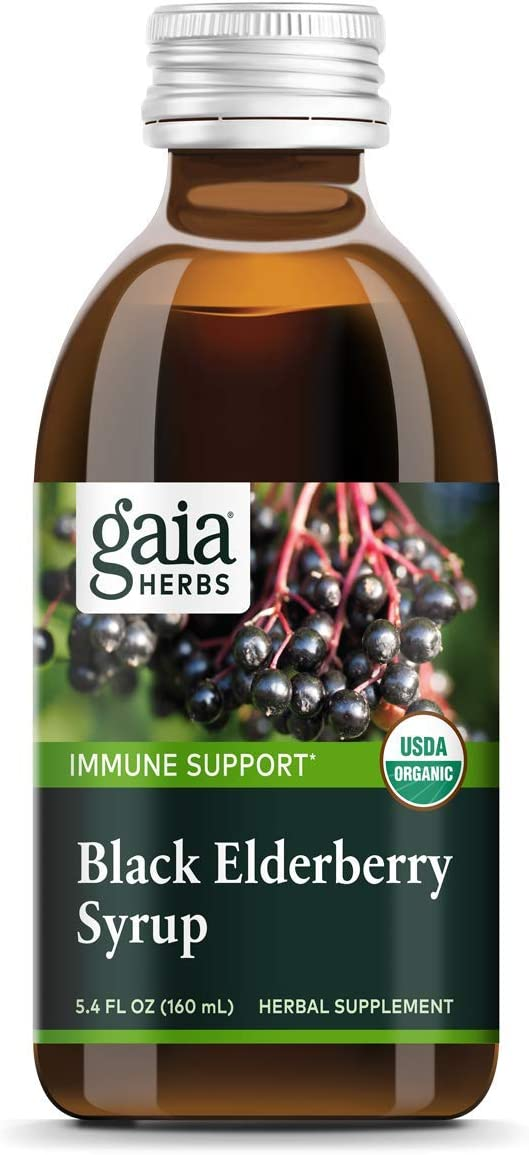 Gaia Herbs, Black Elderberry Syrup, Daily Immune Support with Antioxidants, Organic Sambucus Elderberry Supplement, 5.4 Fl Oz Pack of 1