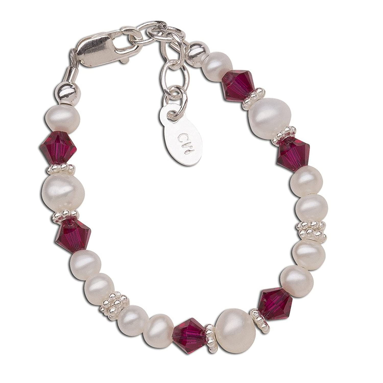 Children's Sterling Silver Swarovski-Created Birthstone Bracelet with Cultured Pearls