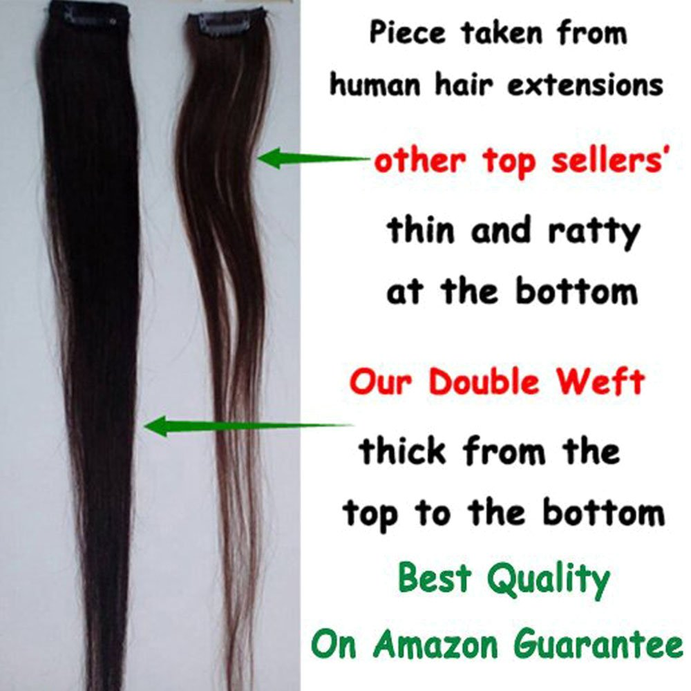 Lelinta 18'' 8Pcs 100% Remy Real Human Single Thick Weft Hair Straight Extension by Lelinta (Image #8)