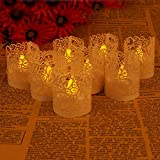 50pcs Gloss Paper Lamp Shade Light Candle Light Tea Light Drive Package Laser Cutting Decorative Packaging Festive Decoration Card - For Home and Garden Flashing LED Candle (White)