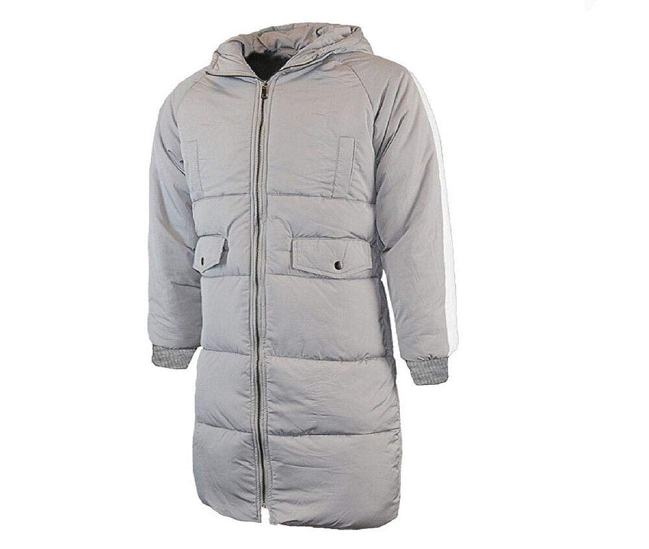 Manadlian Herren Winter Reißverschluss Kapuzenpullover Baumwolle Gepolstert Mantel Große Größe Baumwolle Outwear