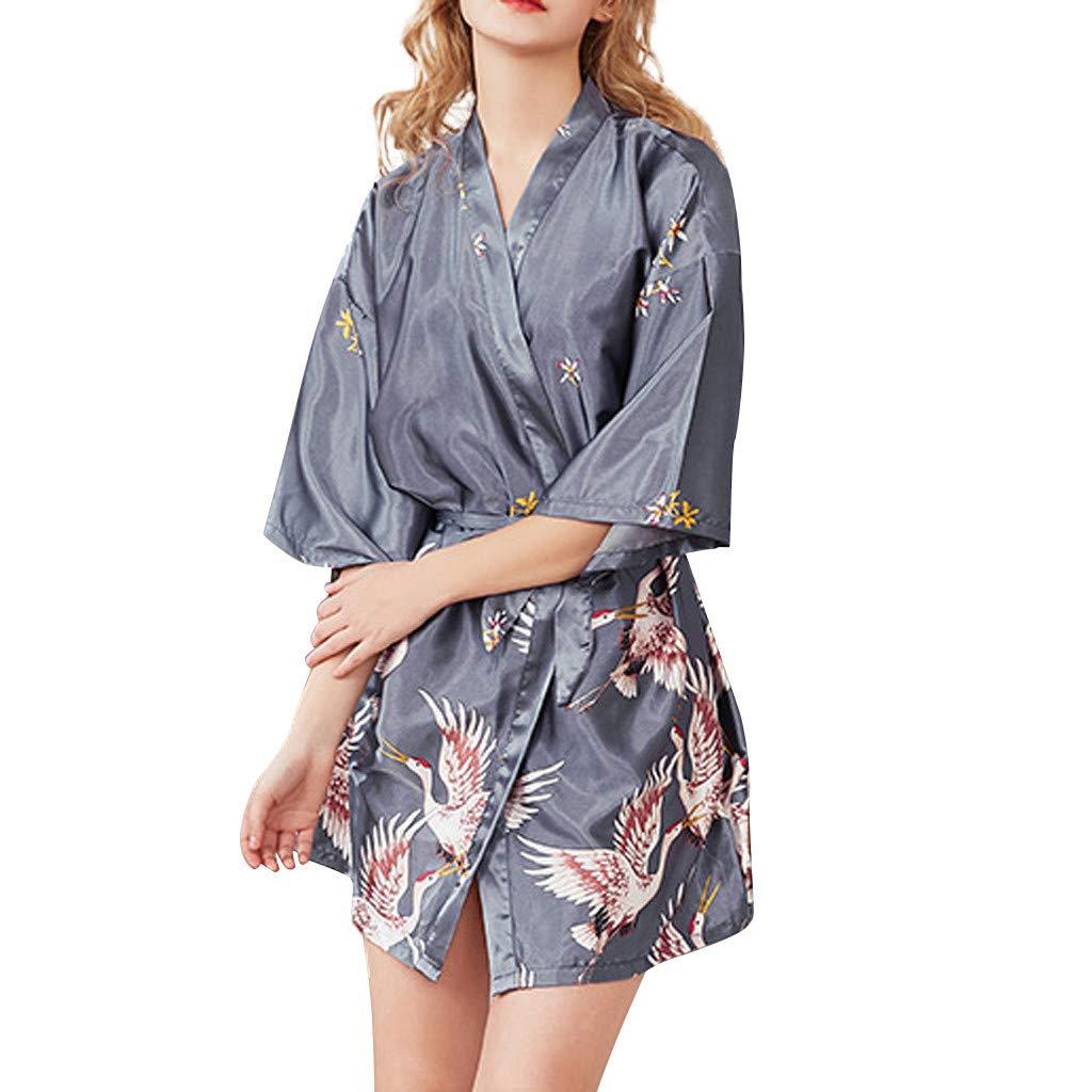 Sinwo Women Sexy Lingerie Long Sleeves Robe Silk Satin Sleepwear Nightdress Skirt Pajamas